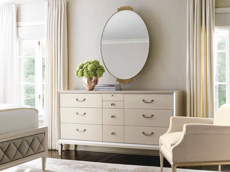 206 отметок «Нравится», 7 комментариев — Caracole Home (@caracolehome) в Instagram: «Finished in Pearl, this elegant nine-drawer dresser is the little white party dress that goes with…»