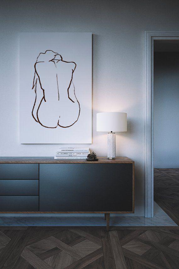 Dark Brown Nude Drawing. Original Nude Figure Drawing. Minimal Line Drawings. Abstract Nude Art Prints. Line Art Prints. Nude Woman Wall Art – Paula