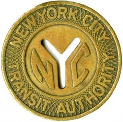 The original NYC subway token - when I was commuting from Queens to Manhattan, it was 35 cents each way.
