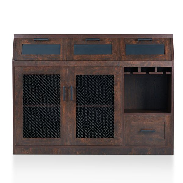 Organize your dining room any way you want with this sleek Server. The industrial design of this piece is accented by the multiple metal-mesh cabinet doors and the pull down cabinets with chalkboard front panels. Both cabinet doors open to reveal plenty of shelf space for dinnerware and necessities