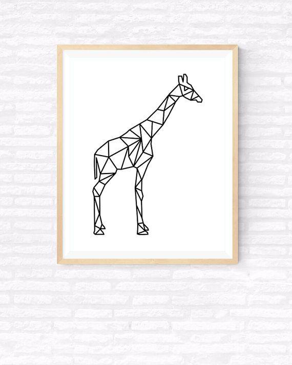 Geometric giraffe Origami Art Printable wall by GabrielPrintables