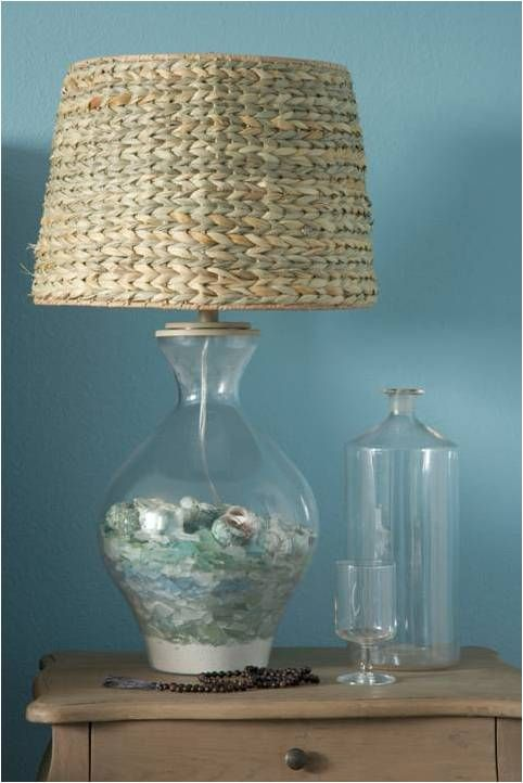 So beachy...love the sea glass in the lamp base!!!