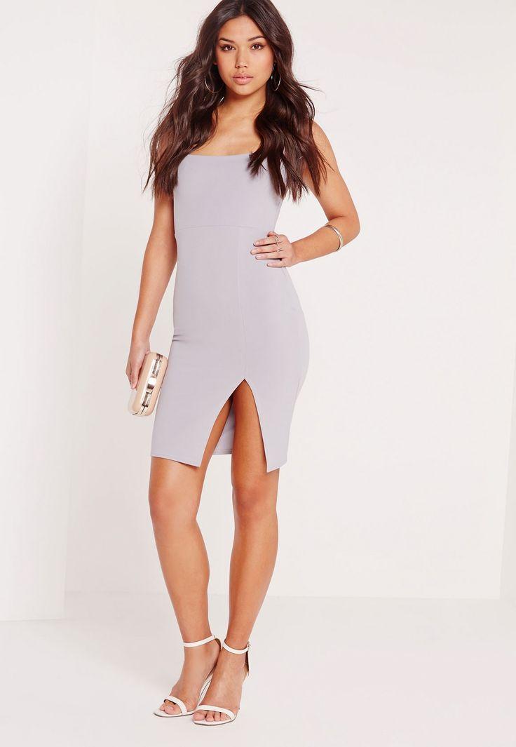 Missguided - Square Neck Side Split Midi Dress Grey