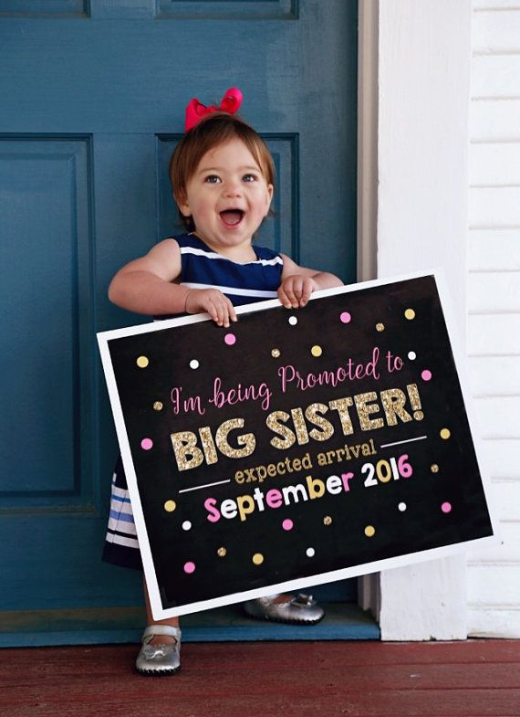 Pink and Gold Big Sister Announcement by printablecandee on Etsy