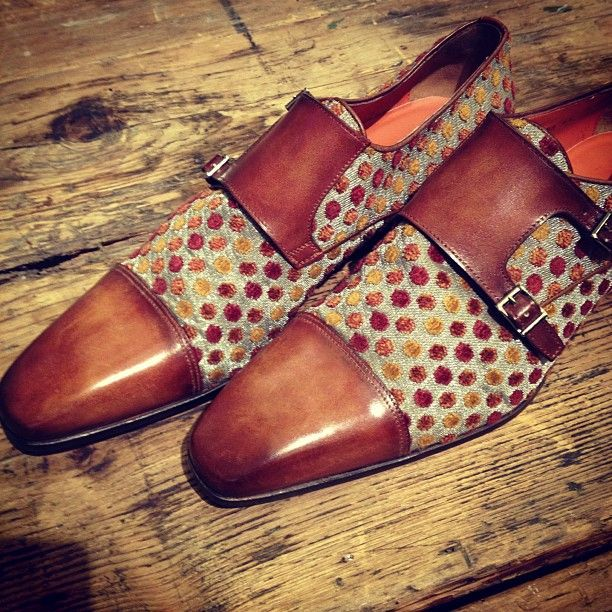 Leather and printed fabric Monkstrap from the Capsule collection by Santoni Rubelli, Fall / Winter 2012.