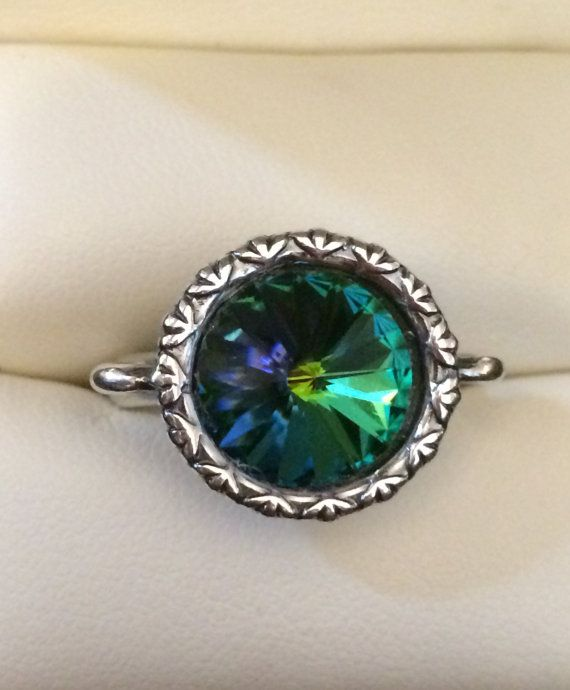 Round Blue Topaz Ring With Crystal Surround
