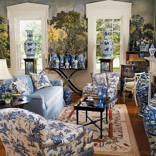 The Foo Dog Ate My Homework — Ahhhh blue and white, and chintz, and mural...