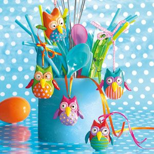 Brightly coloured and simply adorable these owls are quick and easy to make and make great decorations for table, magnets, flower pot sticks or keyrings. Let your imagination run wild.