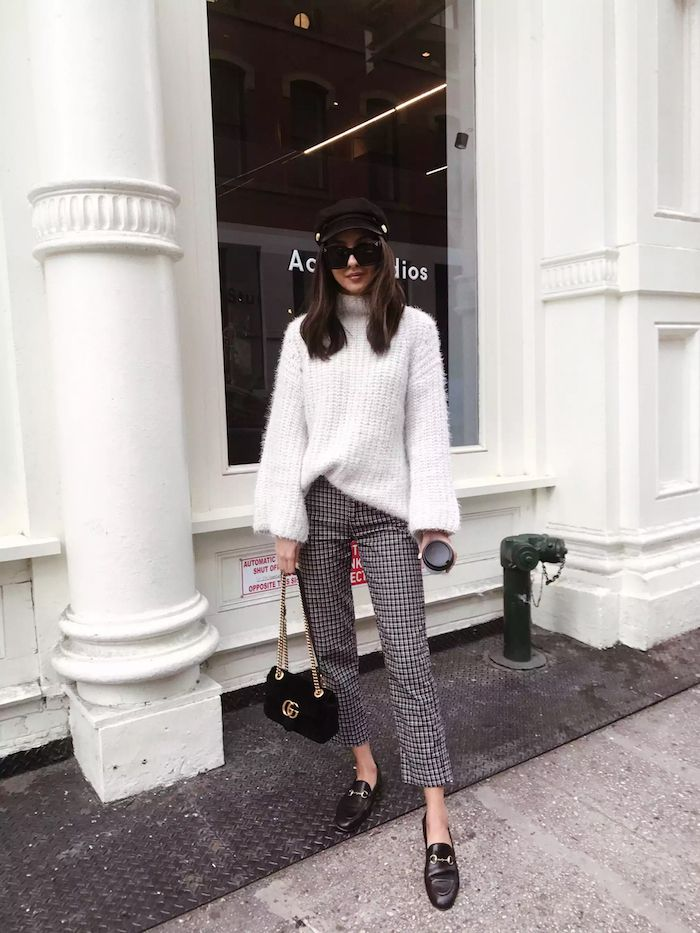 Sweater + patterned trousers + loafers // 20 Winter Outfits We Want to Copy Right Now