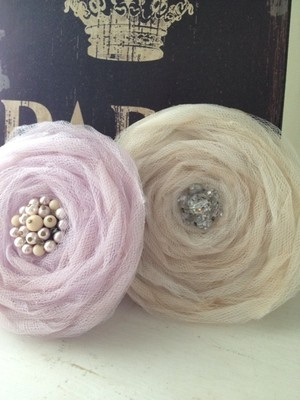 "Pretty Pair Aged Tulle 4"" Flowers~Roses~Vintage Jewelry~Lavender~Tea Stained~Ebay"