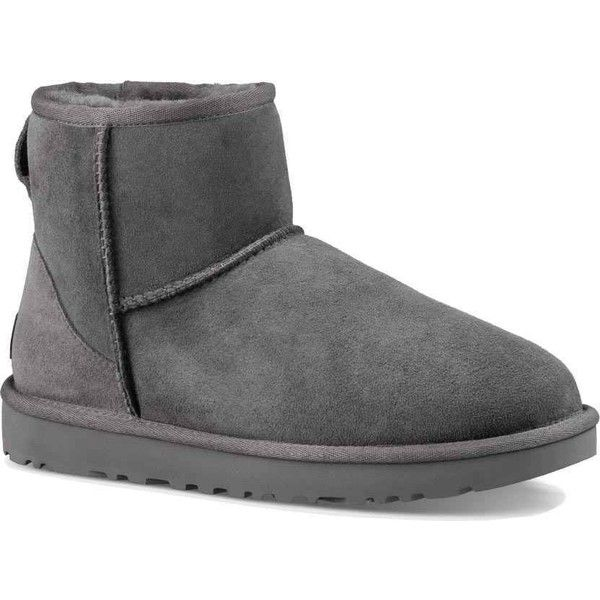 UGG Women's Classic Mini II Grey Boots (535 ILS) ❤ liked on Polyvore featuring shoes, boots, ankle boots, grey, bootie boots, short boots, gray boots, genuine leather boots and short grey boots