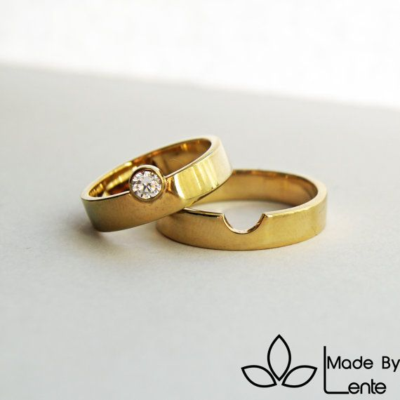 we perfectly fit together wedding rings - diamond - 14k yellowgold - gold…