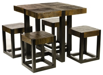 Unusual teak dining table 4 matching stools great for for Unusual small dining tables