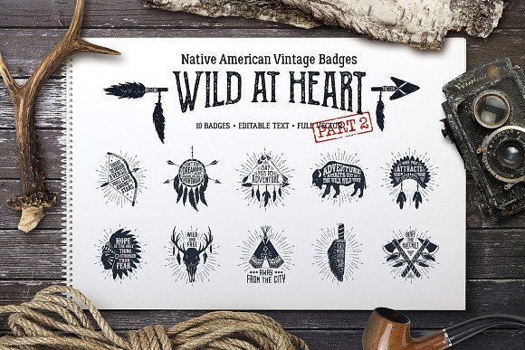 Wild at Heart (Vintage Badges/part2) by Cosmic Store on @creativemarket