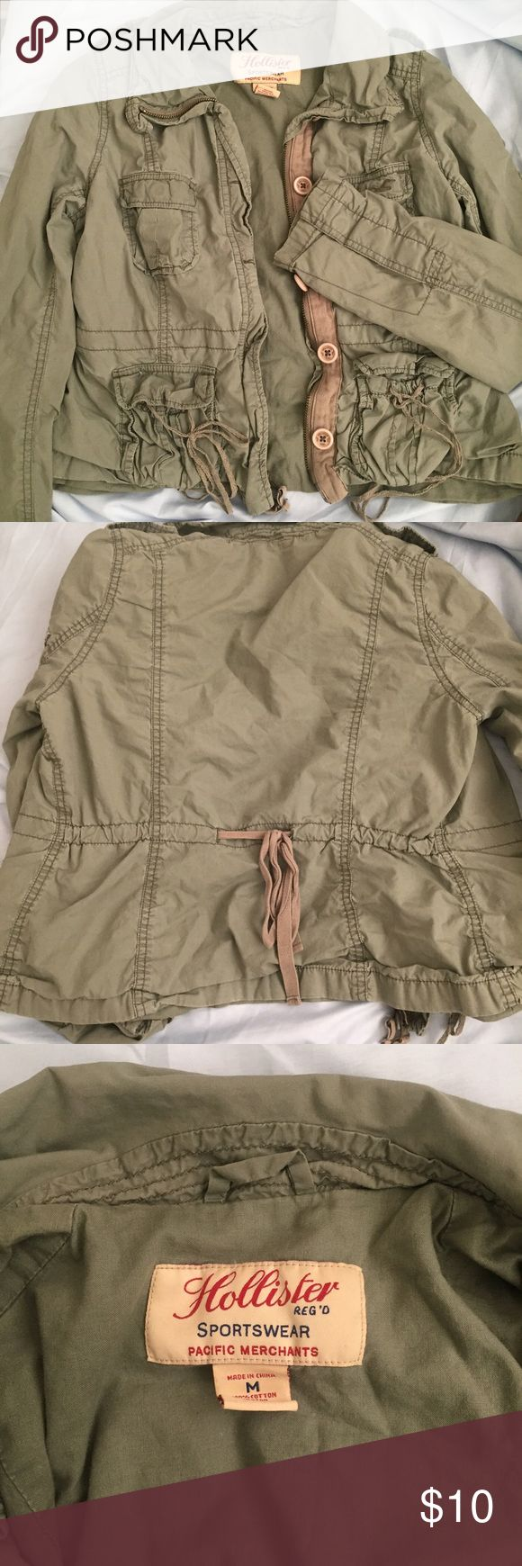 Hollister olive green military jacket (XS or S) Hollister olive green military jacket with light olive green tie on the back for waist adjustment. Says medium but fits more XS or S. Hollister Jackets & Coats Utility Jackets