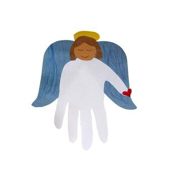 Make the body from a hand print and add wings, hair, halos or anything else your kid can think of.