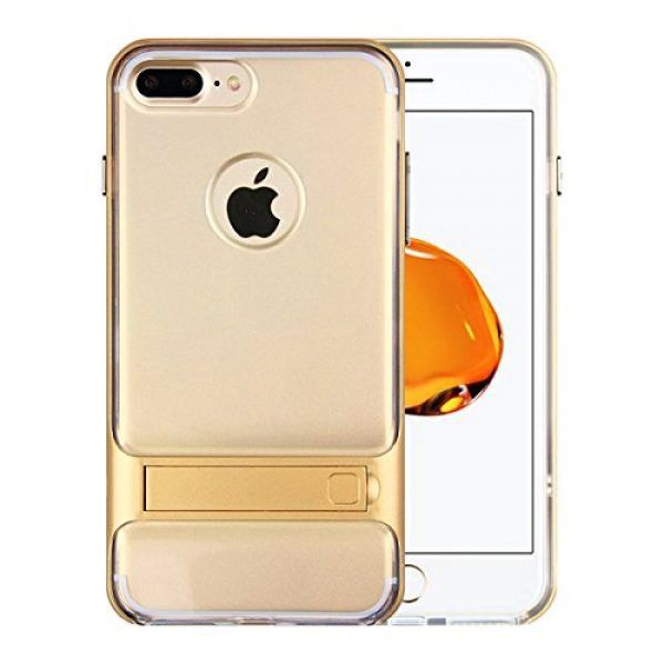 Apple iPhone 7 Case,iTamo Transparent Soft Silicone Rubber Cover with Foldable Kickstand (Flexible TPU)