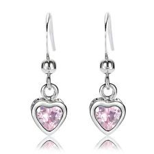 Sarotta Jewelry Lady Heart Cut Pink Sapphire White Gold Plated Dangle Earrings