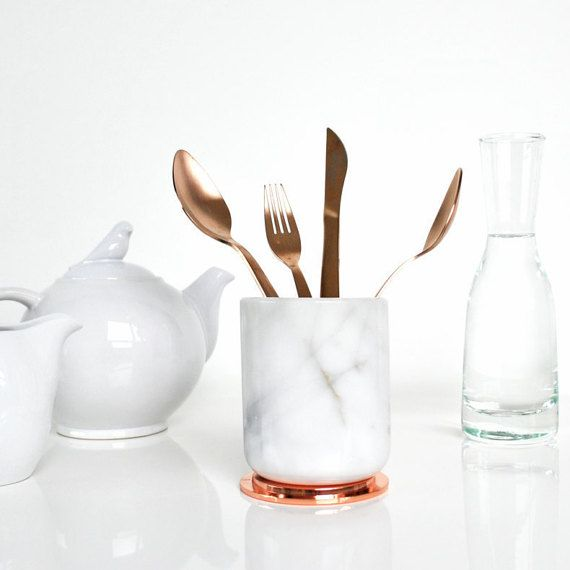 Real White Marble Jar with Copper Lid Cutlery Holder Carrara