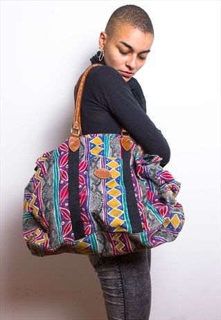 Vintage+90s+Colourful+Aztec+Canvas+Weekend+Holdall+Bag