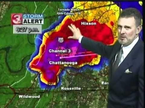 "REPORTER Paul Barys of Channel 3 WRCB-TV Chattanooga gets nervous during ""biggest hailstorm I've ever seen."" 2012"
