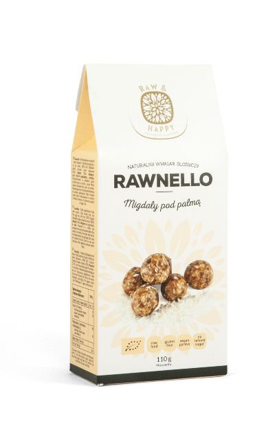 Migdały pod palmą Rawnello Bio, 110 g - Raw And Happy Food
