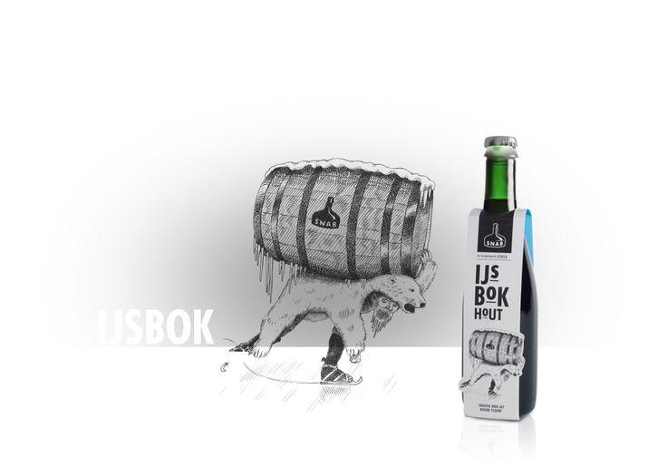 IJSBOK HOUT /  SNAB laat zich voor haar IJsbok inspireren door het reisverslag 'Om de Noord' van Gerrit de Veer uit 1597. Hij beschrijft hoe de scheepsbemanning tot eigen verbazing ontdekt dat diep in een bevroren bierfust vloeistof is achtergebleven die uitstekend smaakt en waarbij 'alle kracht in het kleine beetje nog vloeibare bier zit'. SNAB bootst met haar Ezelenbok dit proces na om IJsbok te verkrijgen.
