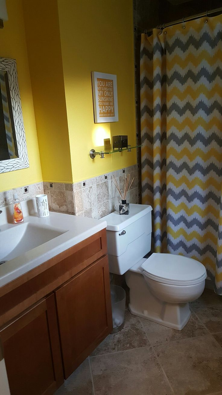 Yellow and gray bathroom bathroom ideas pinterest for Bathroom ideas yellow