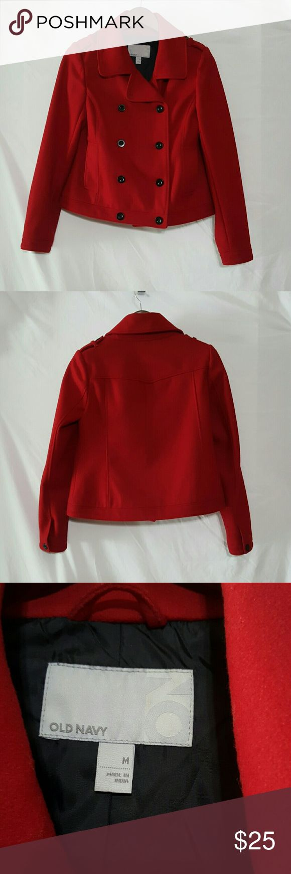 """🌻Summer Sale Red Pea Coat * length 21.5"""" * chest 19""""  Excellent used condition, worn twice. Super cute with black slacks or dress up any outfit with this beautiful red 70%wool /30% nylon jacket. Comes from a smoke free home.   Special summer price 🍍  Any reasonable offer will be considered. Old Navy Jackets & Coats Pea Coats"""
