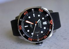 Alpina Watches Seastrong Diver 300 with orange bezel ref. AL-525LBO4V26. Professional diving watch. Swiss made in Geneva.
