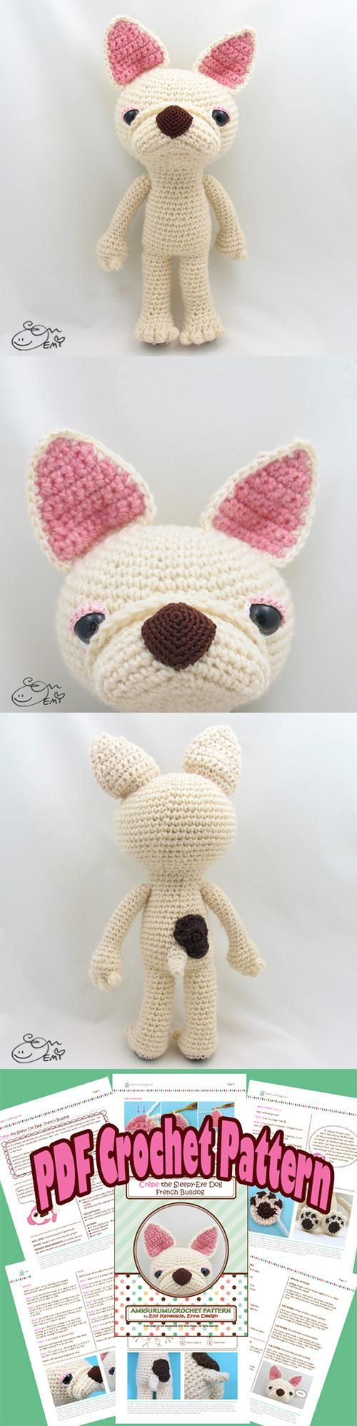 Crepe the French Bulldog amigurumi pattern by Emi Kanesada ...
