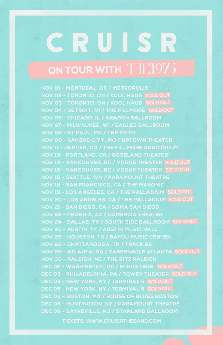 NEWS: The indie pop band, Cruisr, has announced that they will be support on The 1975's highly anticipated fall North American tour. These shows will be in support of the band's new EP, All Over. You can check out the dates and details at http://digtb.us/ZTRvLs