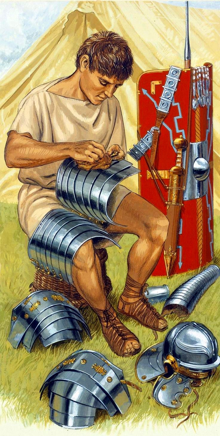 Roman soldier with lorica segmentata armour