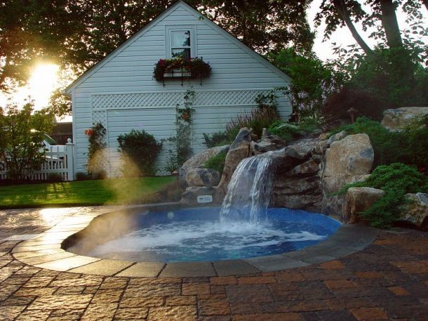 """i want one for my backyard(too small for a pool) * Small backyard? This """"spool"""" is the perfect solution = Spa and pool with waterfall :: Hometalk"""