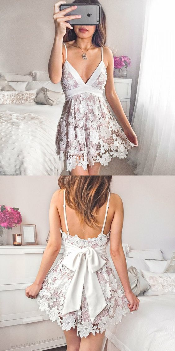 0f7227758e1 simple lace short homecoming dresses, cute pink short prom party dresses  with bow, a line spaghetti straps formal dress by Hiprom, $110.19 USD