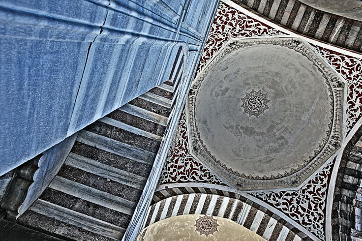 Pillar and ceiling of Blue Mosque Istanbul, Turkey 2012