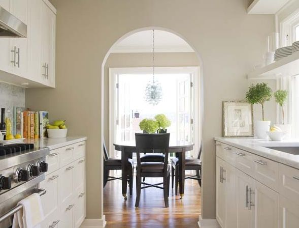 Kitchens Recycled Glass Grape Lamp Galley White Cabinets Marble Countertops White Carrara