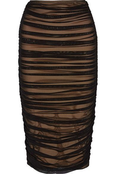Norma Kamali - Ruched Stretch-tulle Skirt - Black - x small