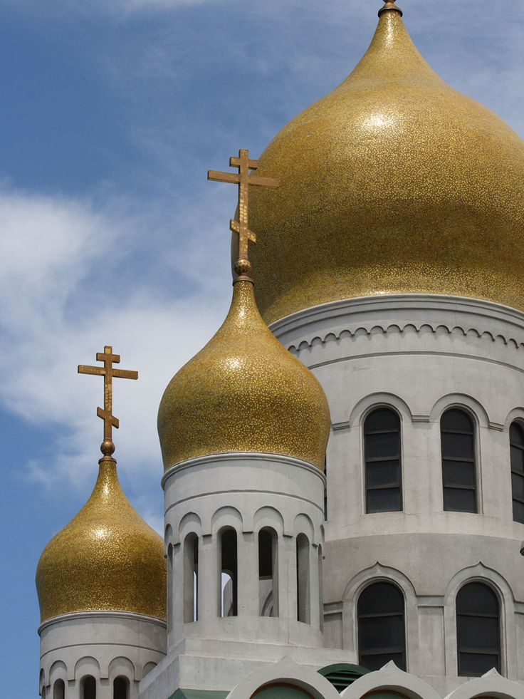 The blue onion domes and gold crosses on three onion domes ...   Onion Dome Church Saskatchewan