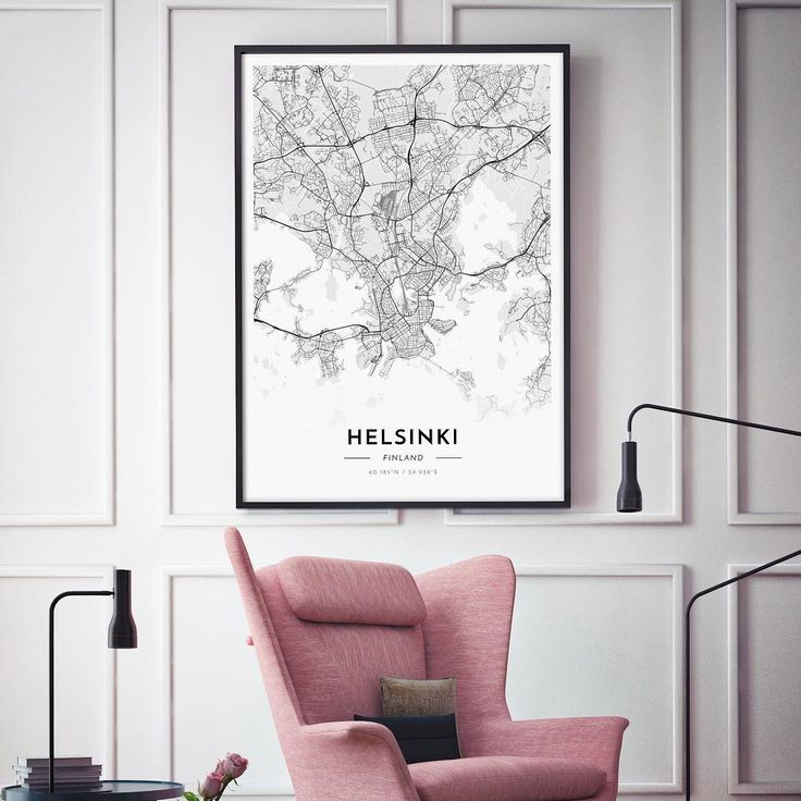 Beautiful map poster of Helsinki. Sans / White / 70x100cm.