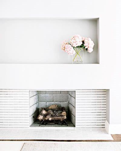 // white fireplace