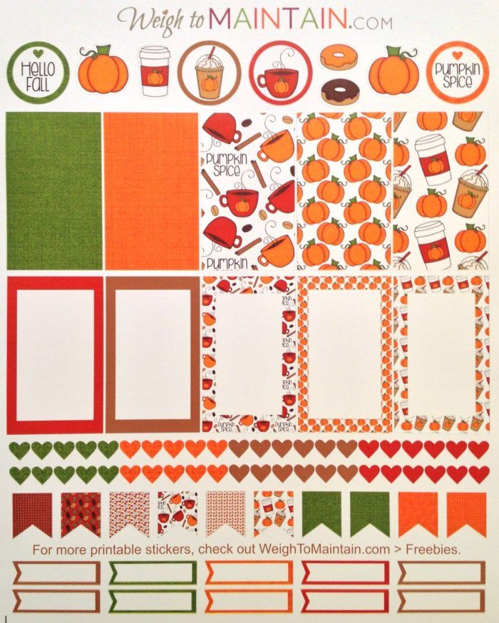 Printable Pumpkin Spice Planner Stickers | WeighToMaintain.com