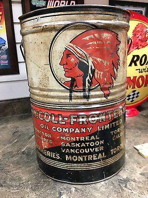 Red Indian Motor Oil by McColl Frontenac (Rare 2-1/2 Gallon Can - Circa 1920's)