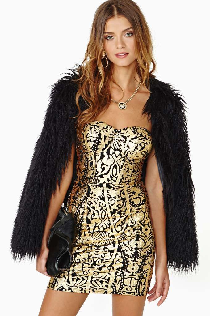 Filthy Rich Dress - black and gold