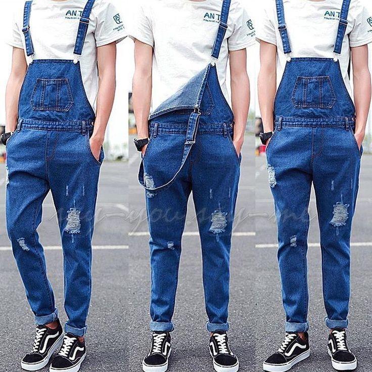 Men Dungarees Ripped Hole Denim Suspender Trouser Jumpsuits Overalls Jeans Pants