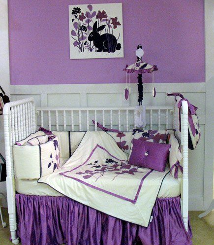 purple wildflower crib bedding lavender crib bedding a royal color for your little princess. Black Bedroom Furniture Sets. Home Design Ideas