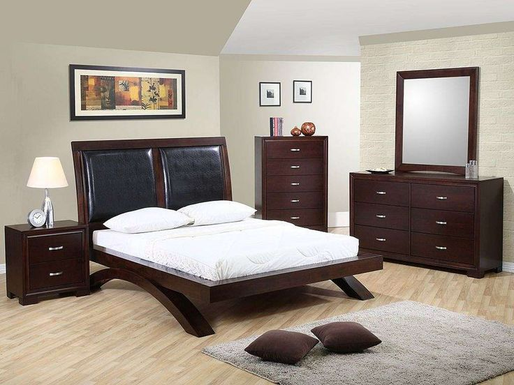 This 5 Piece Bedroom Set Features A Popular Contemporary Design, Combining  Black Leather Accents With