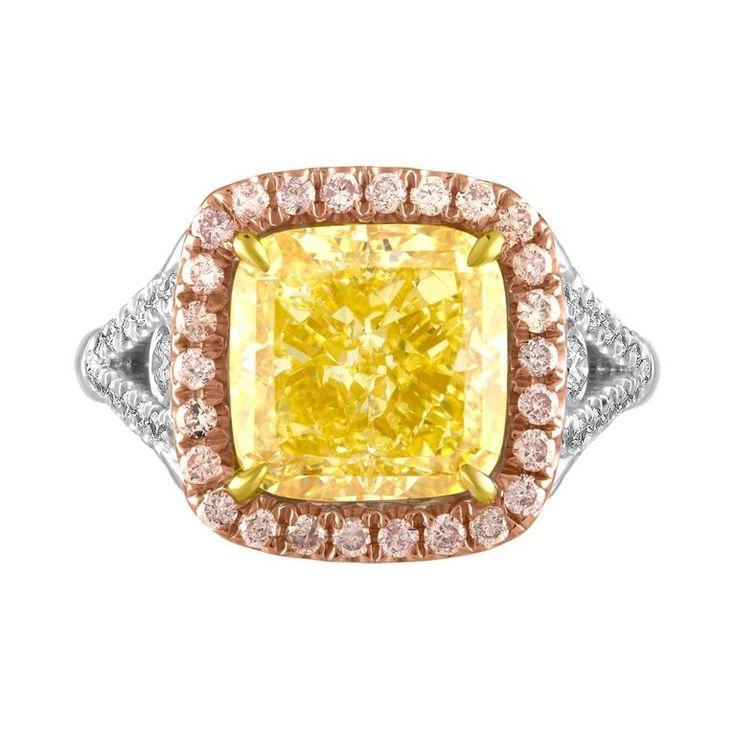 5.03 GIA Fancy Yellow Cushion Cut Diamond in Tri-Color Ring 1