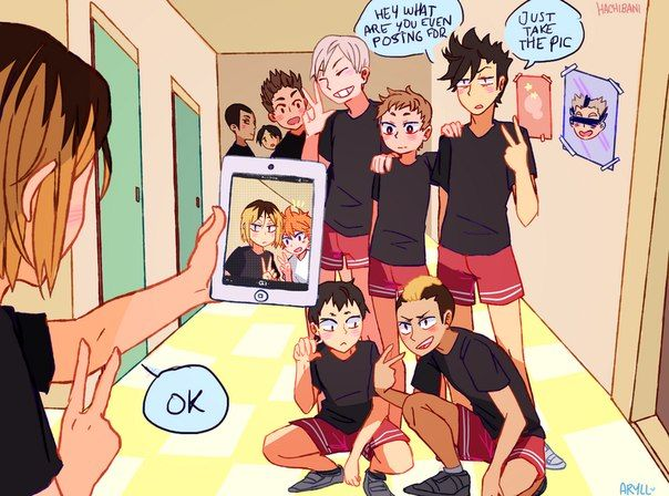 #Nekoma #Haikyuu!! this is the best !!!! Hinata and Kenma takes a selfie while the other idiots thinks that he takes a photo of them . hahahaah aaa yay