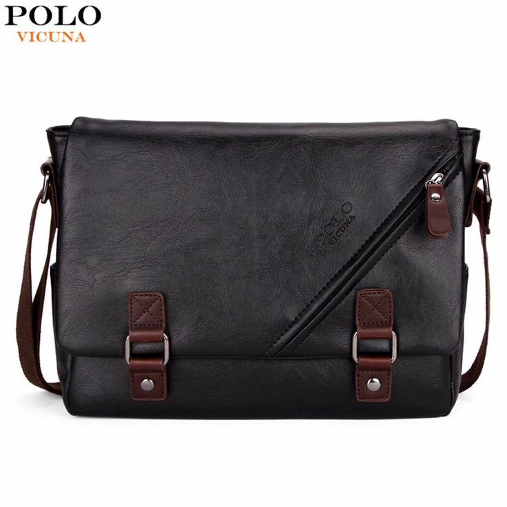 ==> [Free Shipping] Buy Best VICUNA POLO Promotional Men Messenger Bag Vintage Large Horizontal Black Satchel Bag With Double Belt Fashion Mens Handbag Hot Online with LOWEST Price | 32791065323